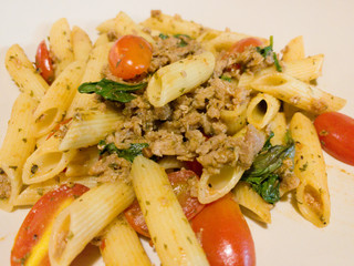 penne pasta with beef and basil