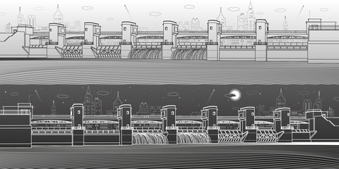 Wall Mural - Hydro power plant. River Dam. Energy station. Water power. City infrastructure industrial illustration panoramic. White and black lines on light and dark backgrounds. Vector design art