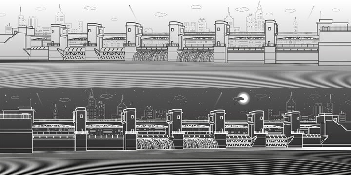Hydro power plant. River Dam. Energy station. Water power. City infrastructure industrial illustration panoramic. White and black lines on light and dark backgrounds. Vector design art