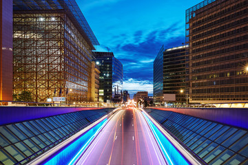 Long exposure shot of a central street at blue hour