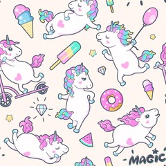 Vector seamless pattern with cute little unicorns