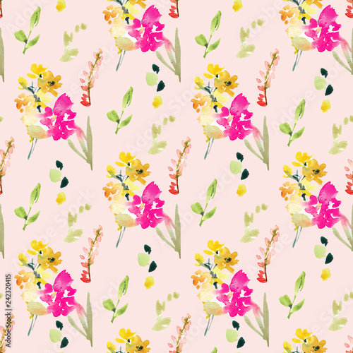 Spring Floral Field Pattern Background Wallpaper Pink