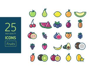 Set de iconos de frutas a color  (Alta calidad)
