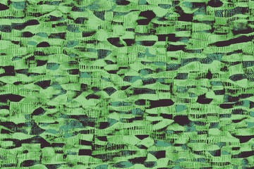 Green african fabrics with patterns and colored textures