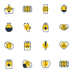 Vector illustration of 16 health icons line style. Editable set of stethoscope, drug container, eyedropper and other icon elements.