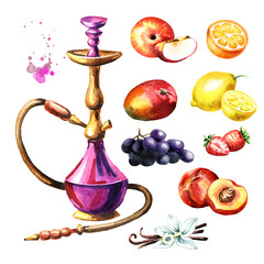 Colorful hookah with fruits set. Watercolor hand drawn illustration  isolated on white background