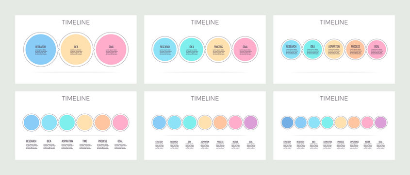 Business infographics. Timeline with 3, 4, 5, 6, 7, 8 steps, options, circles. Vector template. Editable line.