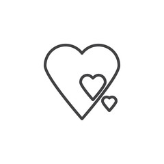 Abstract hearts line icon. linear style sign for mobile concept and web design. Love hearts outline vector icon. Valentine's Day symbol, logo illustration. Pixel perfect vector graphics