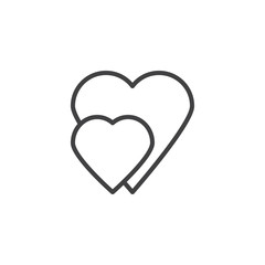 Two hearts line icon. linear style sign for mobile concept and web design. Abstract hearts outline vector icon. Love and Valentine's Day symbol, logo illustration. Pixel perfect vector graphics
