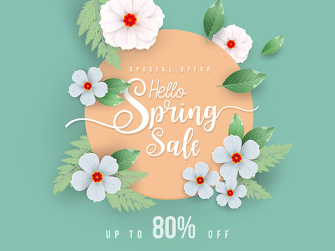 Spring Sale Banner with green leaf and colorful background. Vector Design for your greetings card, flyers,  web banner , invitation, posters, brochure, banners, calendar, spring sale.