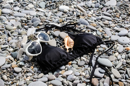 heart-shaped sunglasses, swimsuit top, black bodice, large seashell by the sea