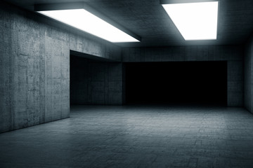 Empty dark abstract concrete room with the gate. Interior concept background. 3d illustration