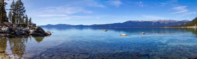 Aluminium Prints Night blue Lake Tahoe panoramic mountain landscape scene in California