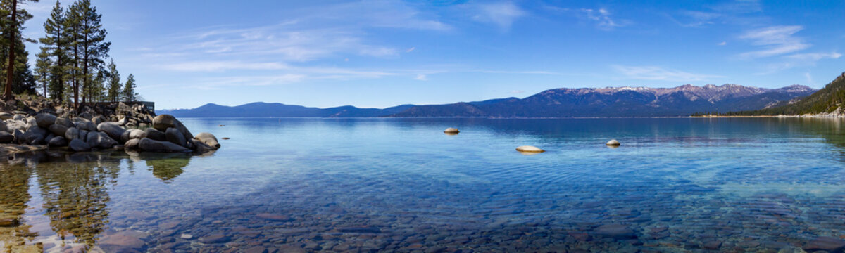 Lake Tahoe panoramic mountain landscape scene in California