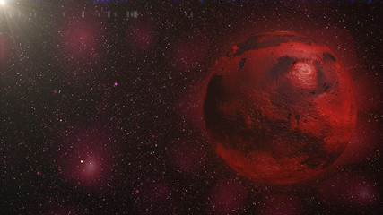 planet Mars in front of the Milky Way galaxy and the sun 3d illustration