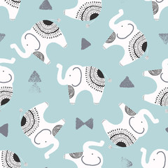 cute elephants and textured triangles vector repeat pattern background in white, black and blue