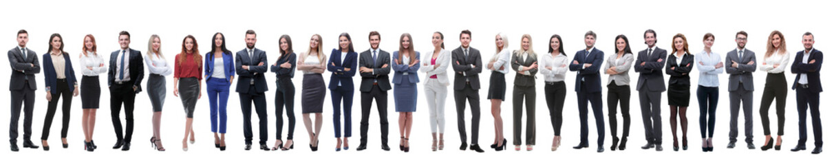 Fototapeta panoramic photo of a big business team standing together