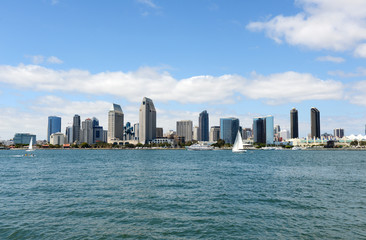 Skyline of San Diego, California with blue skies