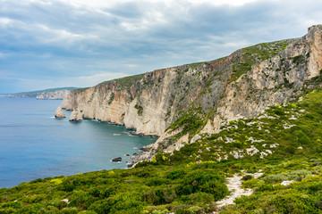 Greece, Zakynthos, Coastal path along impressive abrupt chalk cliffs