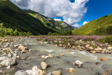 Beautiful landscape with river in Caucasus mountains. Georgia