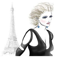 Wall Murals Art Studio Beautiful fashion model in Paris