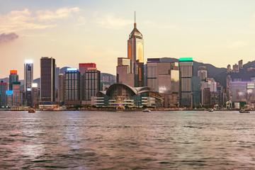 Sunset view of Hong Kong island.