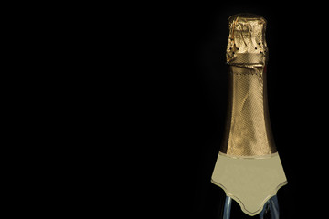 Champagne bottle with drops