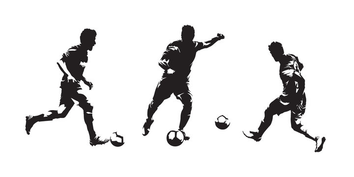 Group of soccer players isolated vector silhouettes. Set of european football ink drawings
