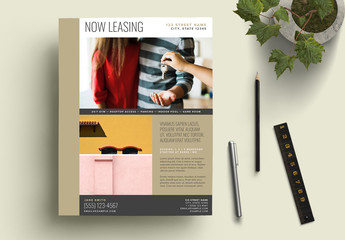 Bronze and Gray Now Leasing Flyer Layout