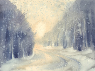 Winter snow road watercolor background. Forest landscape