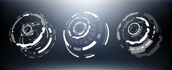 3D Isolated Futuristic Circle Elements Set. Virtual Reality Hologram Technology Concept