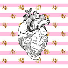 black white anatomical heart with waves of water, freehand drawing. background of pink stripes and golden decor elements. Vector illustration