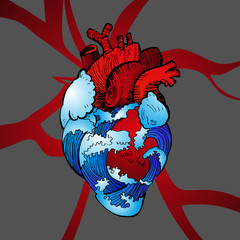 Valentines Day Anatomical heart with blue waves of water, cooling a hot heart. Vector illustration