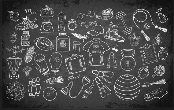 Cartoon fitness doodles on blackboard background. Vector illustration