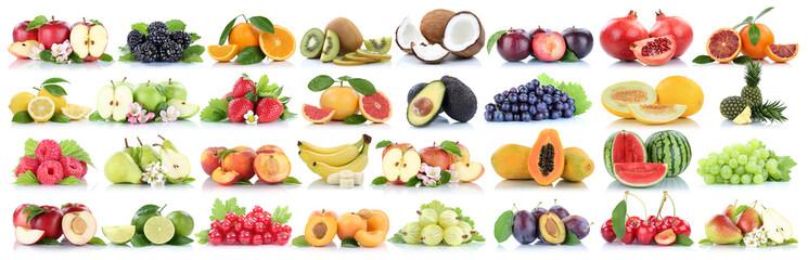 Früchte Frucht Obst Collage Apfel Orange Banane Orangen Äpfel Ananas Zitrone biologisch Freisteller freigestellt isoliert Fotomurales