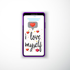 I love myself. Smartphone flat style as a template for social networks and stories
