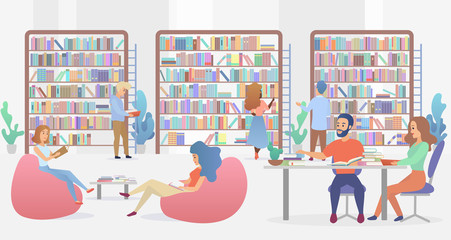 Young people sitting on comfy sofa and at table with armchairs studying and reading. Public library concept gradient flat vector illustration.