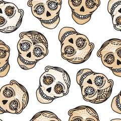 Vector Seamless pattern Gold Calavera skull. Hand drawn Virile male design texture