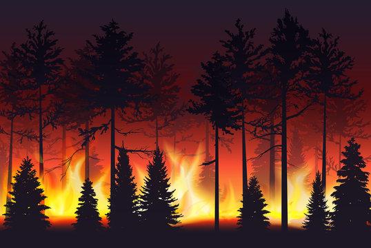Forest fire realistic silhouette landscape vector illustration.