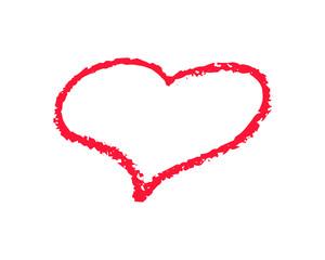 Single red heart outline vector illustration on white background. St Valentine Day clipart. Chalk texture heart frame