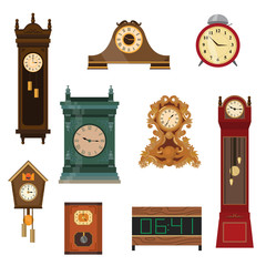 Set of vintage watches handmade from wood of different colors and shapes.