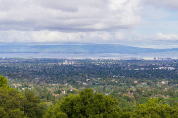 View towards Sunnyvale and Mountain View, Silicon Valley on a cloudy day, after a storm, south San Francisco bay, California