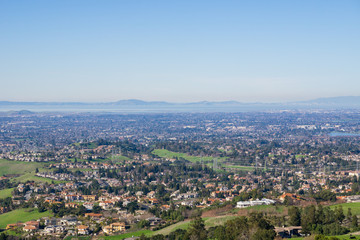 View towards the towns of East San Francisco bay from the trail to Mission Peak, California