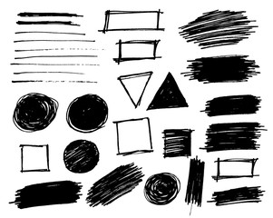 Brush strokes set vector painted isolated objects