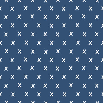 Seamless minimal vector geometric pattern with white criss cross design on dark navy blue background. Fresh modern design for textiles, cards, gift wrapping paper, wallpapers.