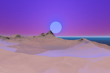 Snowy mountain, a beautiful landscape, blue water at sea and a big moon in the sky.