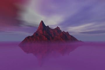 Island, a rocky landscape, pink fog on the water, reflection on water, and a cloudy sky.