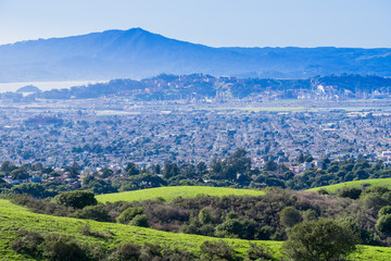 View towards Richmond from Wildcat Canyon Regional Park, East San Francisco bay, Contra Costa county, Marin County in the background, California Wall mural