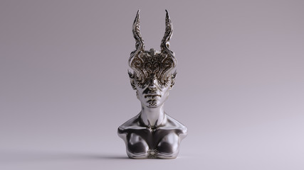 Silver Antique Horned Demon Queen Statue Bust 3d illustration 3d render Wall mural
