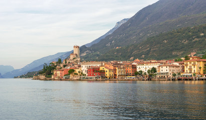 nice, romantic, landscape with Malcesine at Lake Garda in Italy
